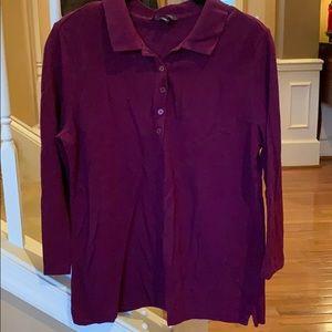 Purple Lands End 3/4 Length Sleeve Polo
